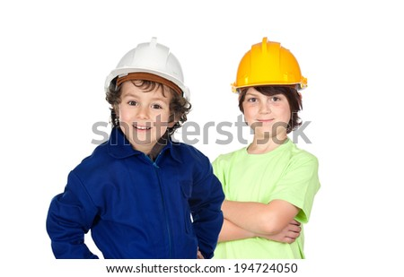 Couple of two young construction workers isolated on a white background - stock photo