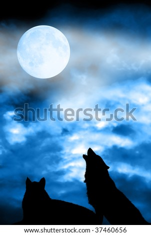 couple of wolves silhouettes with full moon in the sky - stock photo