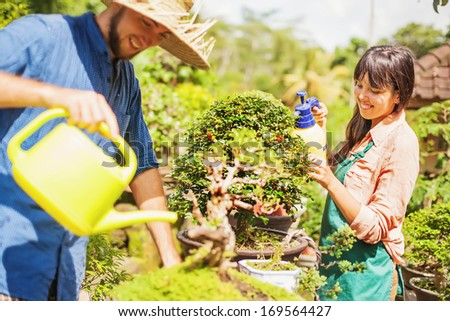 Couple of young gardeners with bonsai (soft focus on the eyes of woman)