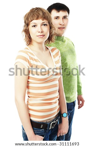Couple of young people. Theme: education, friends, relations. - stock photo