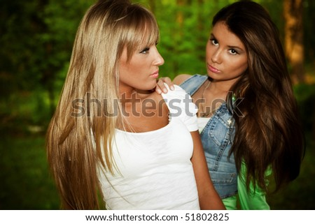 couple of  young women outdoor portrait