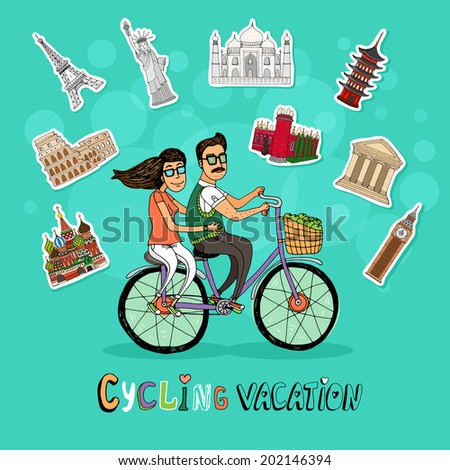 Couple on a Cycling Vacation riding a tandem bicycle together past a set of worldwide icons of famous tourist destinations with the text below  hand-drawn illustration - stock photo