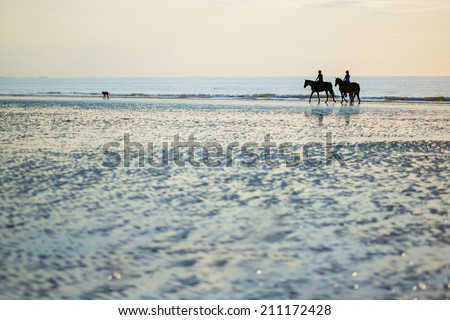 Couple on a pair of horses in Deauville, Normandy, France - stock photo