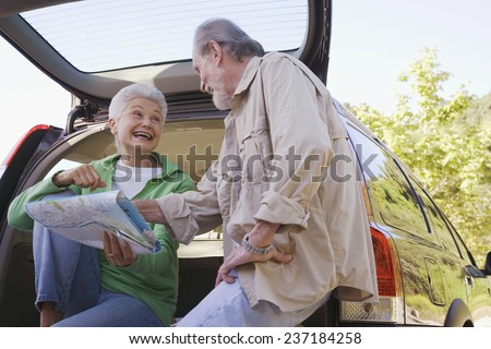 Couple on a Road Trip - stock photo