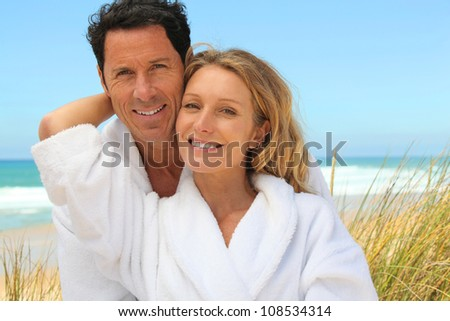 couple on a summer vacation - stock photo