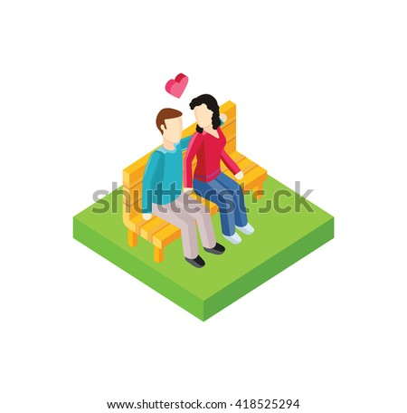 Couple on bench isometric design. Couple man and woman, love  people together romantic, girlfriend and boyfriend, lover sitting, young two valentine, togetherness  illustration - stock photo