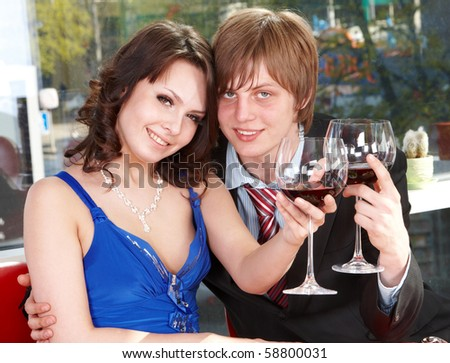 Couple on  date in restaurant. Romantic evening.