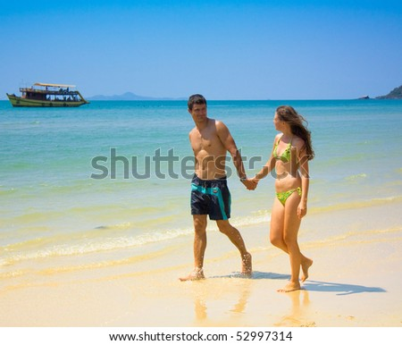 couple on honeymoon - stock photo