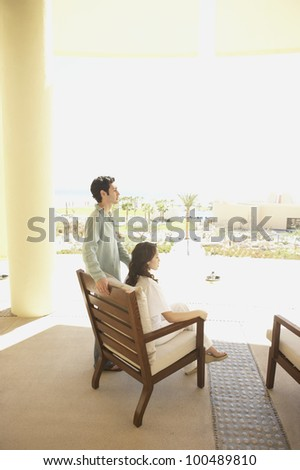 Couple on patio at hotel