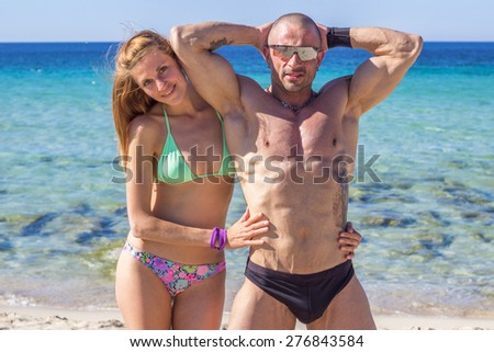Couple on summer beach