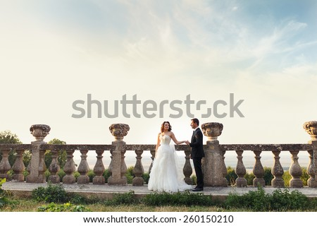 couple on the after wedding photoshoot near the castle in France - stock photo