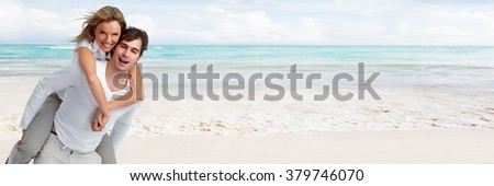 Couple on the beach. - stock photo