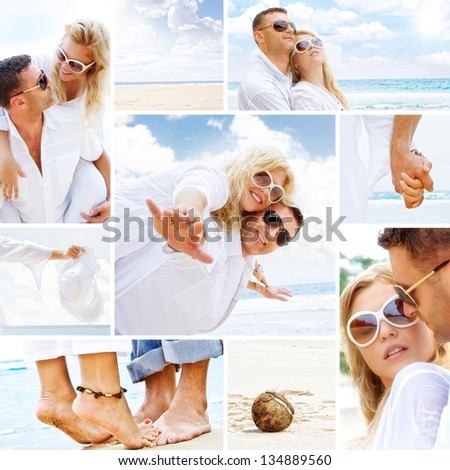 Couple on the beach mix composed of a few images - stock photo