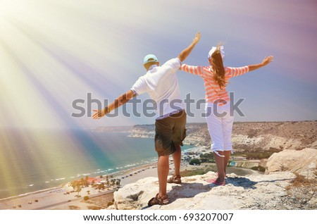 Couple on the rock. Cyprus