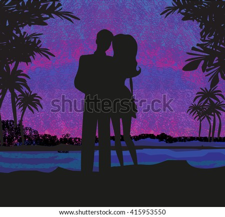 couple on tropical vacation - stock photo