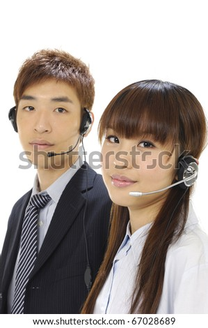 Couple online sales, help or support people on an helpdesk or call center.
