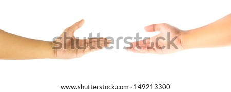 Couple open hands isolated on white background
