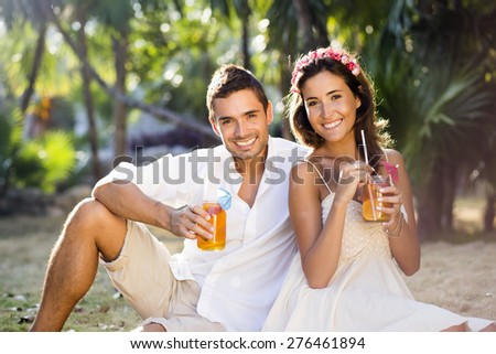 Couple outdoors enjoying a spring day in nature - stock photo