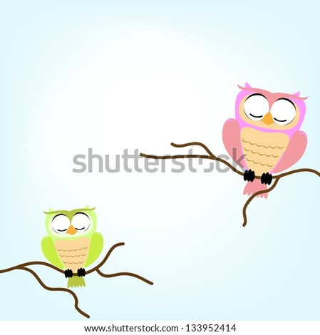 couple owl vector of illustration - stock photo