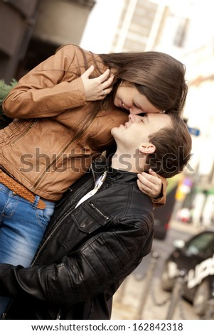 Couple portrait on the street.  - stock photo