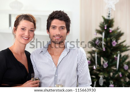 Couple posing in front of their Christmas tree - stock photo