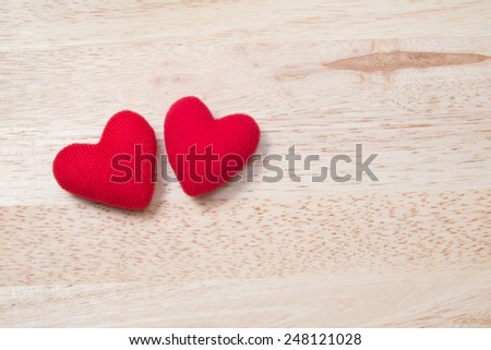 Couple Red Heart on Wooden Table (Top View) for Valentine's day - stock photo