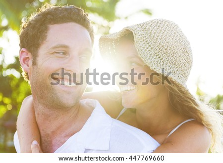 Couple Relaxing Beach Concept - stock photo