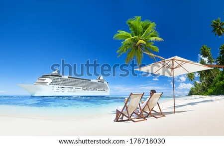 Couple Relaxing in Beach Chair at Beach with 3D Cruise Ship - stock photo