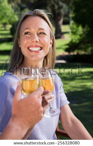 Couple relaxing in the park with wine on a sunny day - stock photo