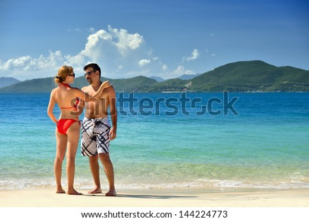 couple relaxing on a tropical beach in Vietnam