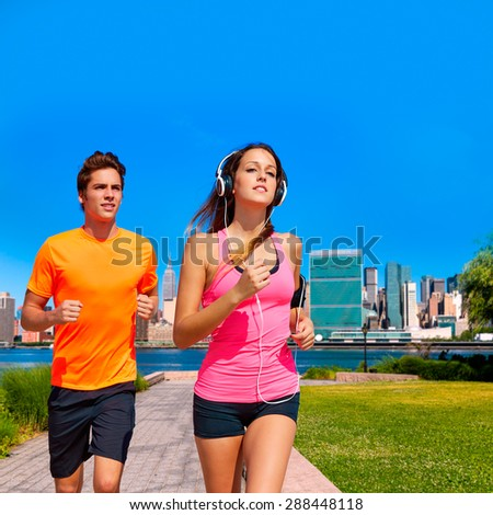 Couple running in New York photo mount in pink and orange colors