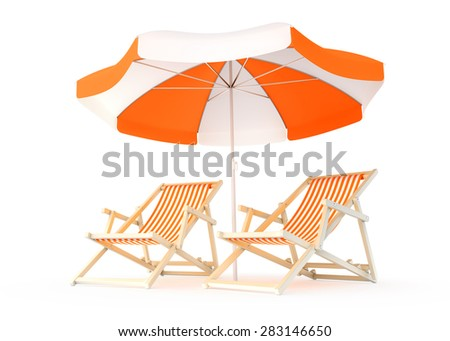 Couple's Rest Place. Two beach chairs and umbrella isolated on white background. 3D rendered image. - stock photo