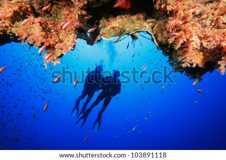 Couple Scuba Diving in the Red Sea - stock photo
