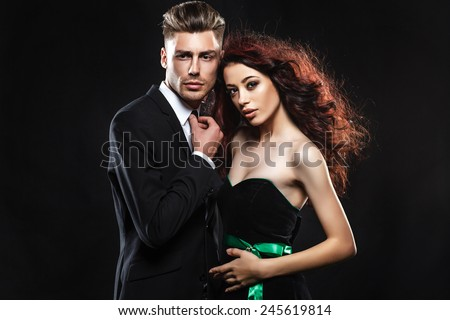 couple, sexy,  lovers people, elegance pretty, classic - stock photo