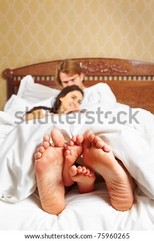 Couple sharing their moments in bed together after wake up