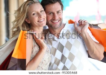Couple shopping - stock photo