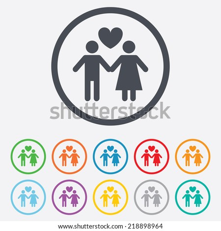 Couple sign icon. Male love female. Lovers with heart. Round circle buttons with frame.
