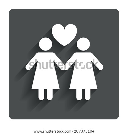 Couple sign icon. Woman love woman. Lesbians with heart. Gray flat button with shadow. Modern UI website navigation.