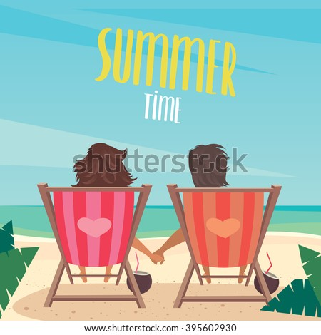 Couple Sitting On Deck Chairs Sea Stock Vector 393789142