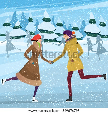 Couple skating on ice-skating rink - Christmas season concept. Raster version of illustration - stock photo
