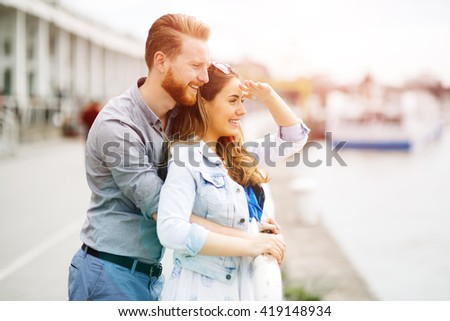 Couple spending time together outdoors and bonding