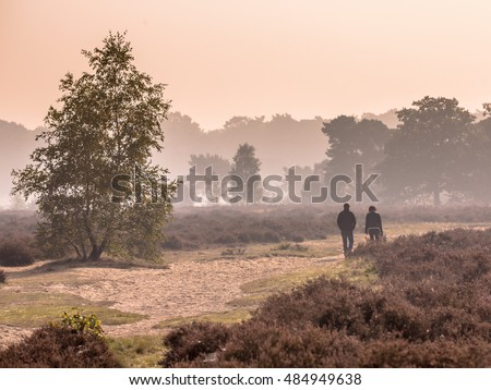 Couple strolling along path through heathland on a morning in october under autumn light. Otterlo, Hoge Veluwe, the Netherlands