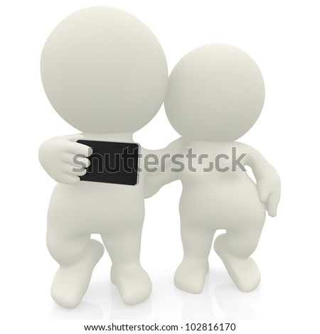 Couple taking a self portrait with their mobile phone - isolated over white
