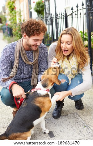 Couple Taking Dog For Walk On City Street