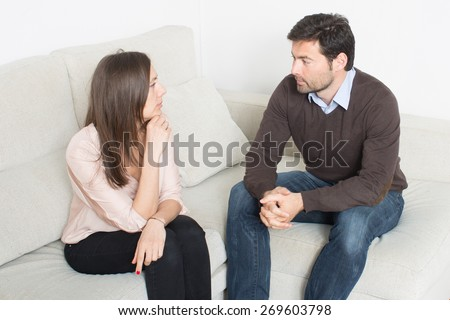 Couple talking - stock photo