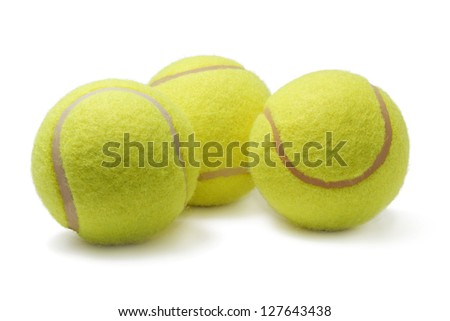 Couple tennis balls isolated on white background - stock photo
