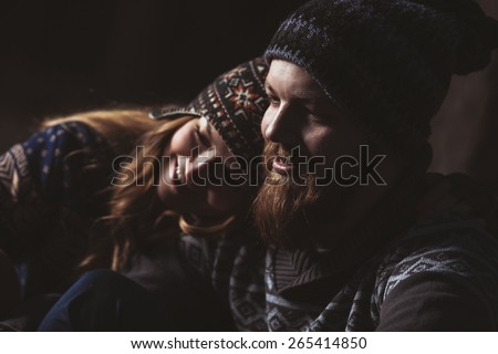 Couple tent camping in the wilderness, low key - stock photo