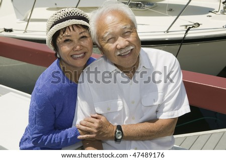 Couple Together in Marina - stock photo