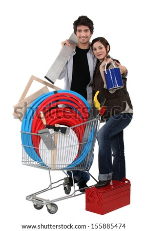 Couple tool shopping. - stock photo