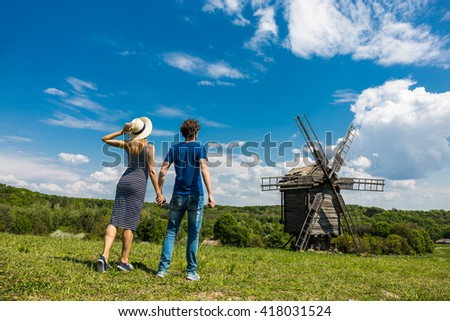 Couple traveling Eastern Europe - stock photo